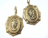 Two Antiqued Brass Cameo Pendants 18x13mm Oval Settings