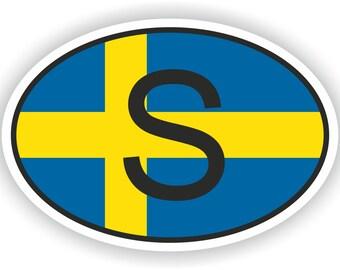 Sweden S Country Code Oval Sticker with Flag for Bumper Laptop Book Fridge Motorcycle Helmet ToolBox Door PC Hard Hat Tool Box Locker Truck