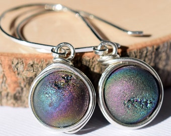 Geode Earrings, Peacock Druzy Earrings, Sterling Earrings, Rainbow Druzy Earrings, Wire Wrapped Druzy, Wire Wrapped Geode, Rainbow Geode