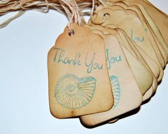 sea shell favor 40 gift tags. beach theme party. hand stamped. rustic vintage Inspired . small. miniature tiny mini