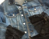 Denim jacket, upstyled, refashioned, embellished, black lace, ready to ship, size medium