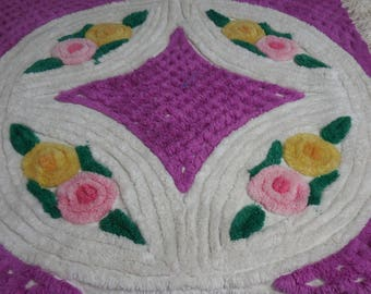 Vintage PURPLE and White Chenille RUG with Pink and Yellow Lollipop FLOWERS and Wedding Ring and Diamond Designs - So Pretty