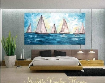 2 DAY SALE Oil seascape painting Abstract Original Modern Contemporary Yacht painting by Nicolette Vaughan Horner