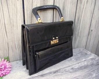 Bergdorf GOODMAN - LUCILLE de PARIS Black Patent Leather Couture Handbag Hand bag Purse Pocketbook
