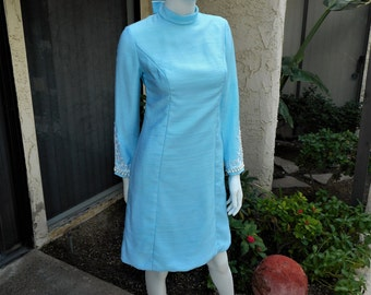 Vintage 1960's Turquoise Blue Dress with Embellished Sleeves - Size Small