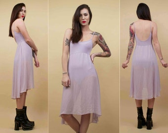 70s 80s Vtg Lavender Pastel Spandex Bodysuit & Sheer Skirt CASCADING Hi - Low Hem Dress / Kawaii Grunge Dolly / Petite Xs Short