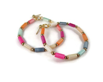 Multi Colored Shell Beaded Hoops