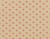 15% off thru 2/22 Moda fabric by 1/2 yard SONGBIRD Primitive Gatherings-tiny red birds on tan- 1160 12