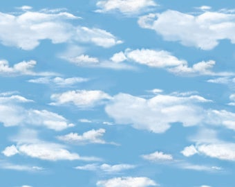 OH DEER! medium blue sky clouds white cotton print by the 1/2 yard Wilmington fabric-30164-441