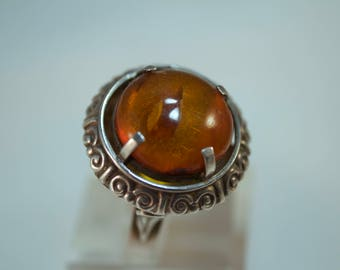 Vintage Hungarian 800 Silver and Amber Ring