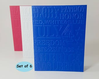 4th of July Cards, Patriotic Cards, Embossed Cards, July 4 Cards, 4th of July Card Set, 4th of July Stationery, Red White and Blue Cards