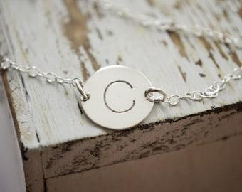 Engraved Silver Initial Bracelet | Monogram Disc Bracelet | Sterling Silver Bracelet | Personalized Initial | Silver Letter Coin Bracelet