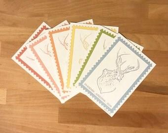 Jackalope Stamp Art Print-Set of 3