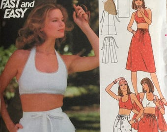 Butterick 4855, Size 11/12, Young Junior/Teen Halter Top, Skirt, Pants, Shorts and Stole Pattern, UNCUT, Vintage, Summer, Fun, Casual