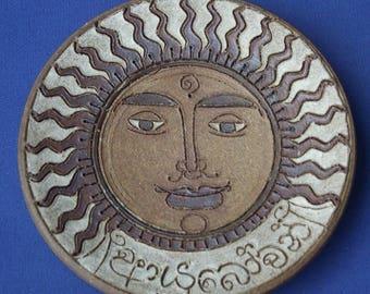 Vintage Studio Pottery 'Aztec' Sun Face Dish/Plate
