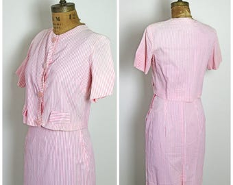 1950s Pink Stripe Dress Set