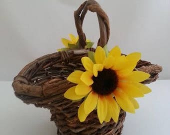 Sunflower Wedding Basket Sunflower Wedding Flower Girl Basket Sunflower Wedding Decor Sunflower Wedding Sunflower Wedding Flower Basket Girl