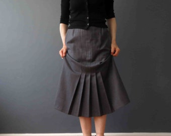 70s 80s Mid Grey Wool Pencil Skirt Front Pleat Small Medium