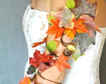 Autumn colour leaves arm cuff hand cuff slave bracelet tree people oranges and browns woodland fancydress
