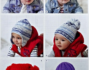 Boys Baby Knitting Pattern K4651 Childrens & Babies Hats Knitting Pattern DK (Light Worsted) King Cole