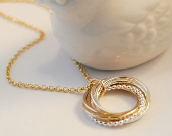 7 Rings Necklace, Interlocking Rings,  Gold Chain, 70th Birthday Necklace, Mixed Metals Silver & Gold, Bridesmaids Jewelry