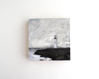 Lighthouse Mixed Media Painting - 4 x 4