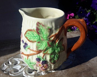 English Majolica Blackberry Pitcher Shorter and Sons Wonderful Condition Earthenware