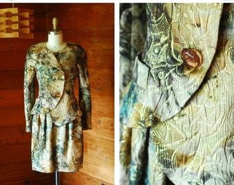 20% OFF FALL SALE / vintage Krizia floral brocade silk suit / size small