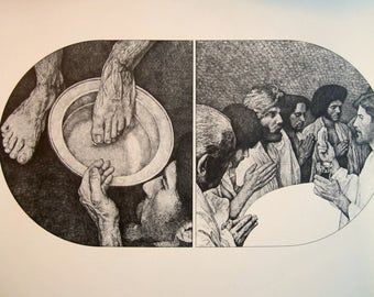 Vintage Christian print Jesus Christ Foot Washing Disciples Religious tradition Passover Resurrection Sunday Easter Biblical art John 13:3