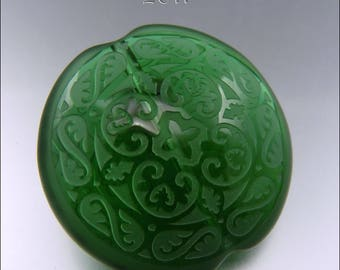 EMERALD GREEN SCROLLS – Sandblasted Lentil Bead  – Lampwork Pendant Bead  Focal Handmade Supplies - by Stephanie Gough sra fhfteam leteam