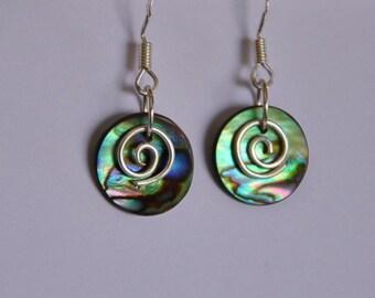 Moana style Paua Shell & sterling silver earrings~New Zealand paua shell