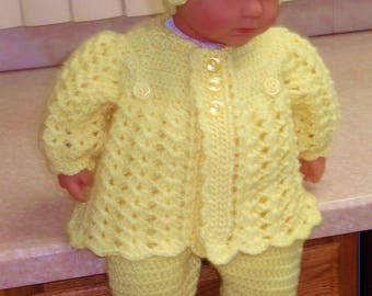 Crochet  Baby Girl Yellow Sweater Set Layette with Leggings and Flower Cloche Outfit Perfect for Baby Shower Gift or Take Home Outfit