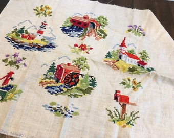 Embroidery sampler 1975 paragon home rustic completed antique lighthouse church
