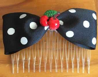 Black and White Polka Dot Hair Comb/Bow