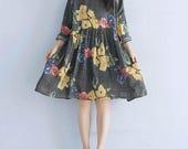 round collar loose fitting Linen dress Gray doll dress