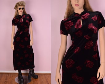 90s Velvet Floral Print Dress/ Small/ 1990s/ Maxi/ Mandarin Collar