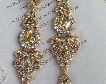 Bridal jewelry, Bridal earrings, Wedding jewelry, Champagne crystal earrings, Gold earrings, Vintage inspired chandelier wedding earrings