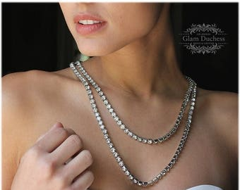 bridal jewelry, Bridal necklace, Wedding jewelry, Austrian Crystal jewelry, Vintage inspired necklace, long necklace, Evening necklace