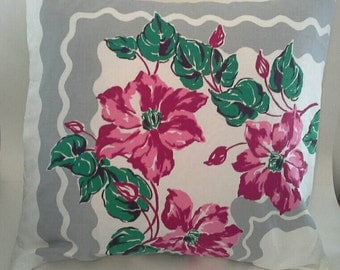 Flowered Cottage Chic Throw Pillow Cover 24 Inch Square Upcycled from Shabby Tablecloth 24 X 24