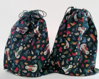 2 Snowmen on Dark Green Christmas Drawstring Fabric Gift Bags Upcycled, Reusable