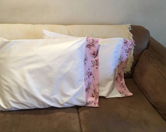 Shabby Chic white pillowcases with pink floral polka dot trim/cottage pillowcases/ vintage shabby chic pillowcases/ 300 thread pillowcases
