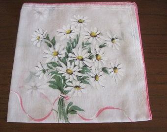 15 square inch handkerchief with daisies and pink ribbon