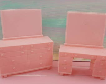 Superior bedroom Vanity and Dresser pink Furniture Soft  Plastic items Colorful