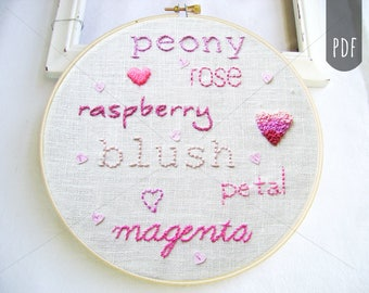 Embroidery Pattern PDF Pink Words Blush Magenta Petal Peony Rose Raspberry
