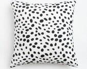 """Dalmatian Print Euro Pillow Cover. Black and white spotted lumbar pillow.  Extra long lumbar pillow. 26"""" Square Pillow. 20"""" Square pillow."""