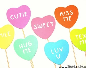 Valentines Day Photo Booth Prop Set - 7 Conversation Hearts on a stick - Great Photobooth Props - Valentines Day Props
