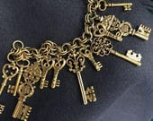 RESERVED for Luxe House  Vintage Charm Bracelet Skeleton Key Ornate Victorian Style