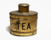 Antique Small Gold and Black English Tea Tin