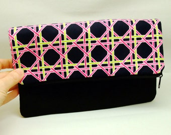Foldover zipper clutch, zipper pouch, wedding purse, evening clutch, bridesmaid gifts set - Checks (Ref. FZ9)