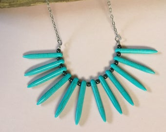 Spike necklace/ turquoise spike necklace/ statement necklace/ turquoise point necklace/ turquoise spikes/ turquoise and hematite